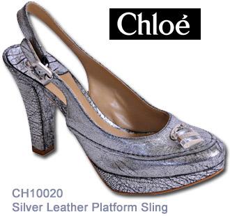 Chloe - CH10020 - Silver Leather PlatformSling